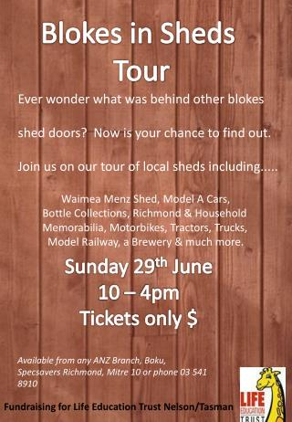 Blokes in Sheds  Tour