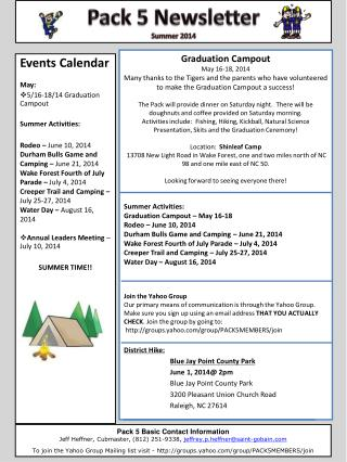 Graduation Campout May 16-18, 2014