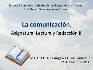 Escuela Panamericana de Hotelería, Gastronomía y Turismo Bachillerato Tecnológico en Turismo