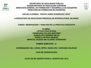 SECRETARIA DE EDUCACION PÚBLICA SUBSECRETARIA DE EDUCACIÓN SUPERIOR