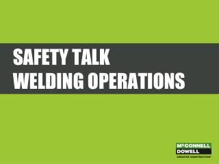 Safety Talk Welding Operations