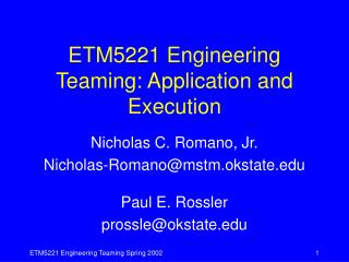 ETM5221 Engineering Teaming: Application and Execution
