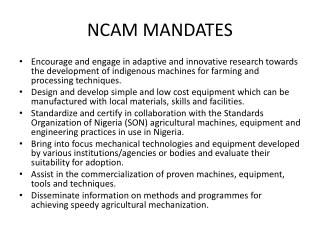 NCAM MANDATES