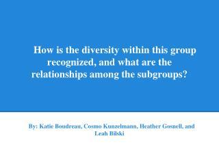 By: Katie Boudreau, Cosmo Kunzelmann, Heather Gosnell, and Leah Bilski
