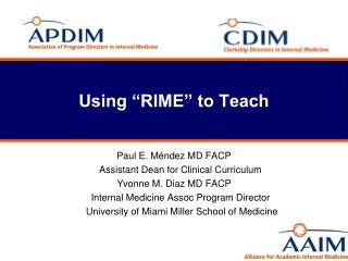 Using �RIME� to Teach