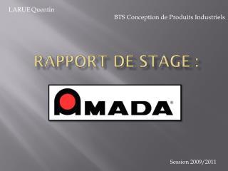 RAPPORT DE STAGE :