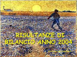 RISULTANZE DI BILANCIO ANNO 2004