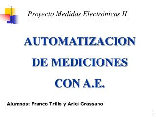 AUTOMATIZACION DE MEDICIONES CON A.E.