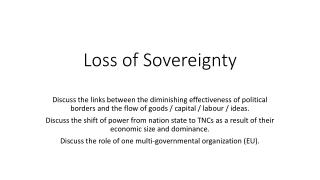Loss of Sovereignty