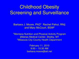 Childhood Obesity  Screening and Surveillance