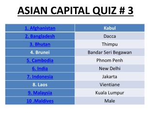 ASIAN CAPITAL QUIZ # 3