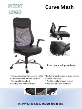Contemporary mesh executive chair  Lumbar curved aerated backrest  Removable headrest