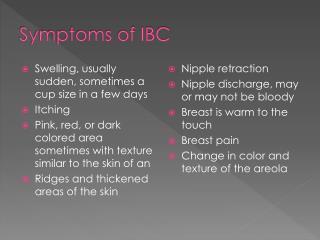 Symptoms of IBC