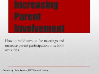 Increasing Parent Involvement