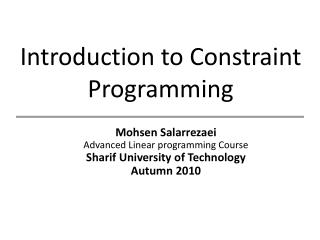 Introduction to Constraint Programming