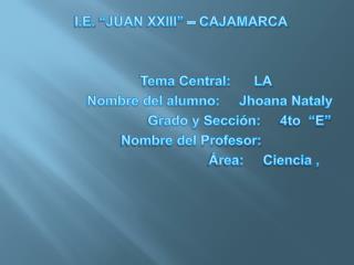 "I.E. ""JUAN XXIII"" – CAJAMARCA              Tema Central:      LA TRICOMONIASIS(ETS)"