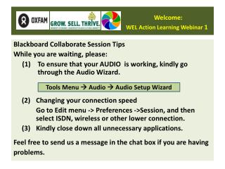 Welcome: WEL Action Learning Webinar  1
