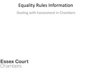 Equality Rules Information