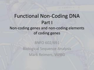 Functional Non-Coding DNA Part I Non-coding genes and non-coding elements of coding genes