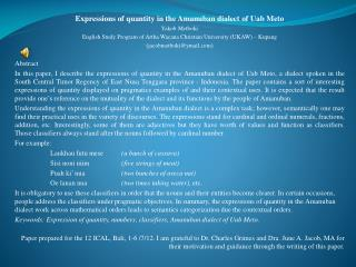Expressions of quantity in the  Amanuban  dialect of  Uab Meto Yakob Metboki