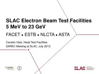 SLAC Electron Beam Test  Facilities 5  MeV to 23 GeV