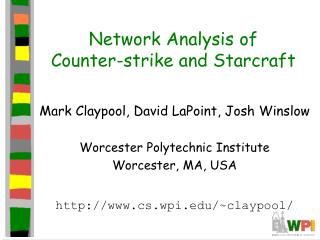 Network Analysis of  Counter-strike and Starcraft