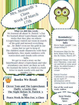 Mrs. Monacelli`s Class Week of March  17th