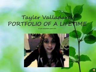 Tayler Valladares PORTFOLIO OF A LIFETIME or just seventeen years of it