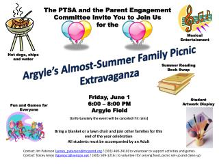Argyle�s Almost-Summer Family Picnic Extravaganza