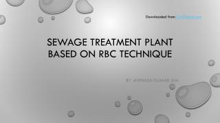 Sewage treatment plant based on  rbc  technique
