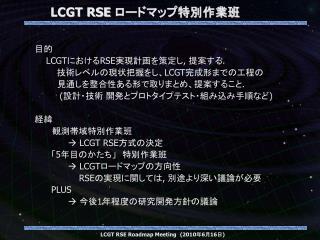 LCGT RSE  ロードマップ特別作業班