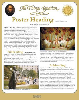 Poster  Heading  –   180  pt. Garamond Bold  Byline goes here  – 60 pt. Garamond Italic