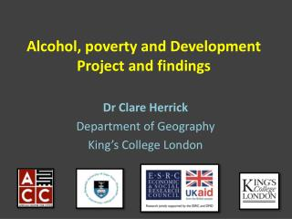 Alcohol, poverty and Development  Project and findings