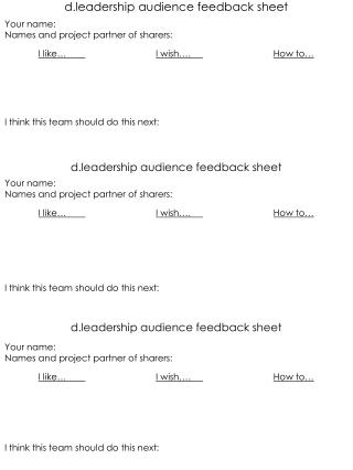 d.leadership  audience feedback sheet