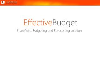 SharePoint Budgeting and Forecasting solution