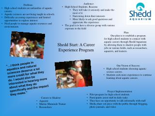 Shedd Start: A Career Experience Program