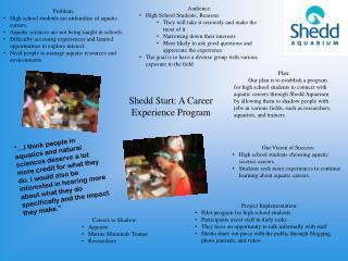 Shedd Start: A Career Experience Program
