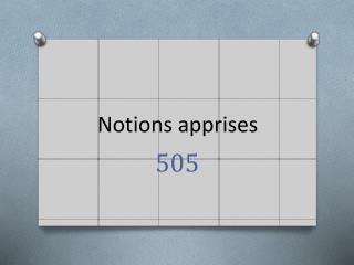 Notions apprises