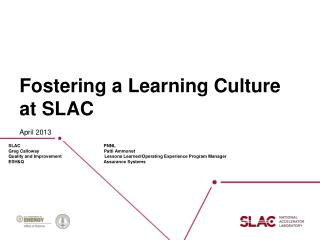 Fostering a Learning Culture at SLAC