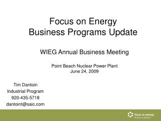 Focus on Energy Business Programs Update