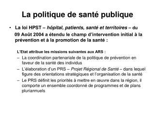 La politique de santé publique