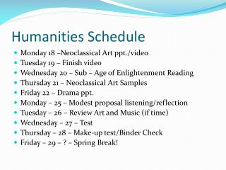 Humanities Schedule