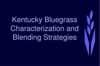 Kentucky Bluegrass Characterization and  Blending Strategies