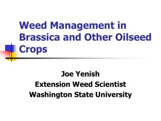 Weed Management in Brassica and Other Oilseed Crops