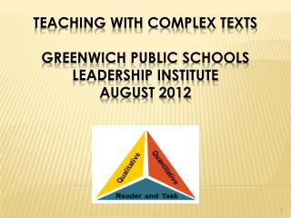 Teaching with Complex  TeXTs Greenwich  Public Schools  Leadership Institute August 2012