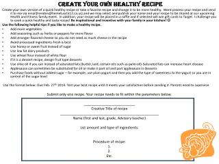 Create your own healthy recipe