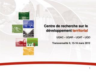 Centre de recherche sur le développement  territorial