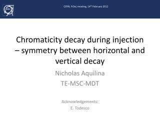 Chromaticity decay during injection –  symmetry between horizontal and vertical decay