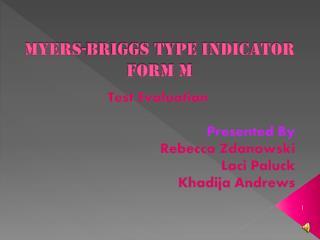 Myers-Briggs Type Indicator Form M