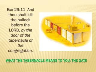 What The Tabernacle Means to you: The gate